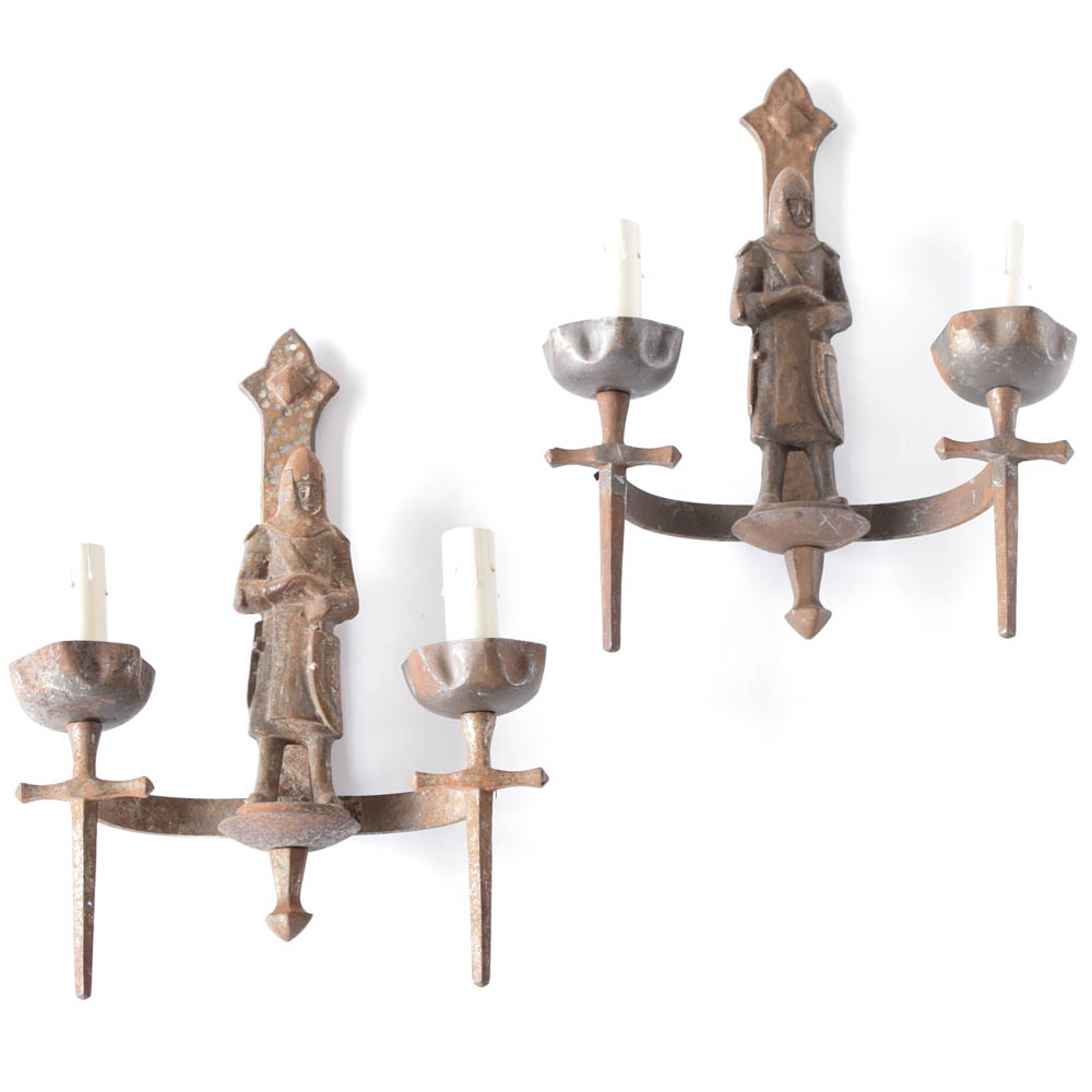 Pair of iron sconces with crusaders from