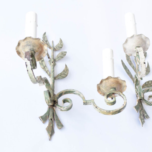 Pair of leafy sconces from Europe