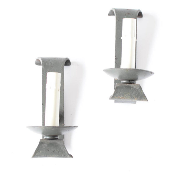 Pair of Simple Iron Sconces from Europe