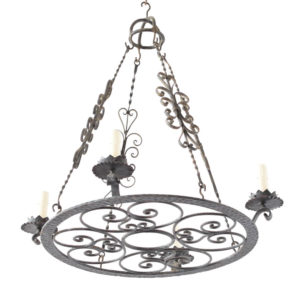 Round Chandelier with rods and crowns from Europe