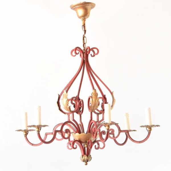 Iron chandelier with red patina from France