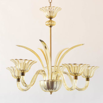 Mid century amber glass murano chandelier from europe