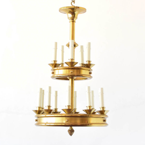Modern Brass chandelier from Europe with 2 tier lighting