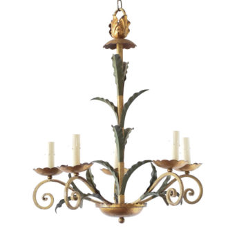 Leafy gold and green iron chandelier from Europe