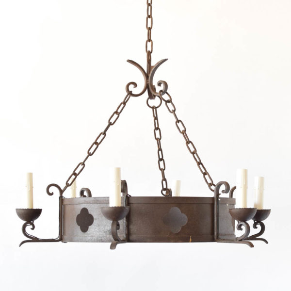 Round Chandelier with quatrefoil cutouts from France
