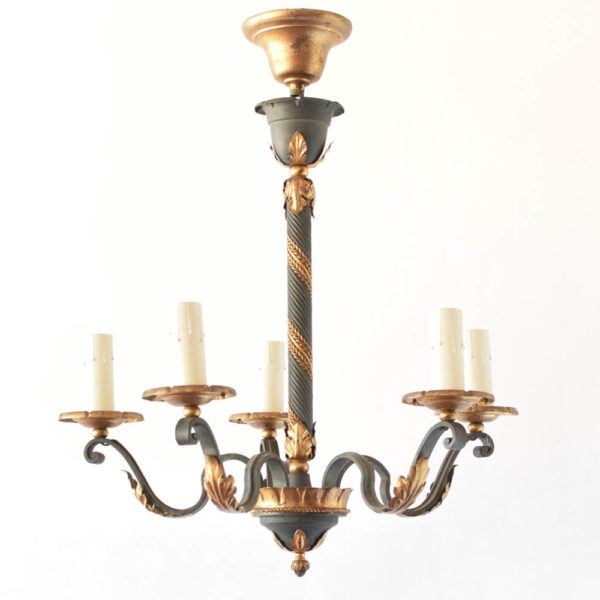 Green and gold chandelier from Italy