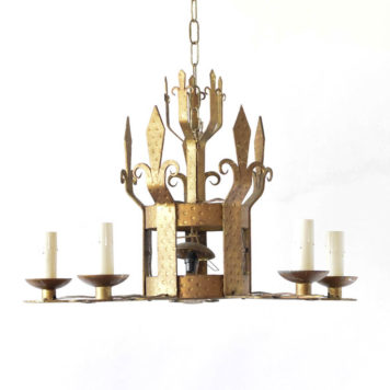 Gilded chandelier with feur de lis arms from France