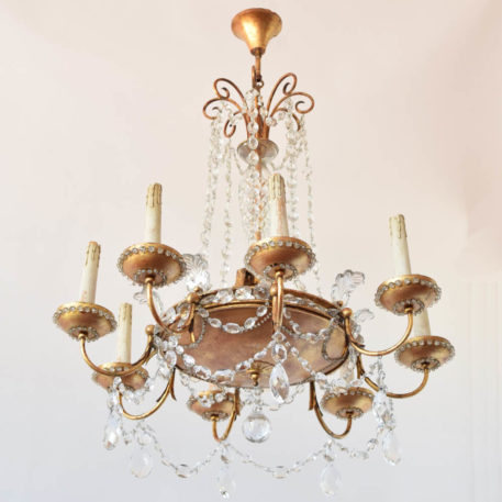 Gilded Crystal chandelier from Italy with gold bobeches
