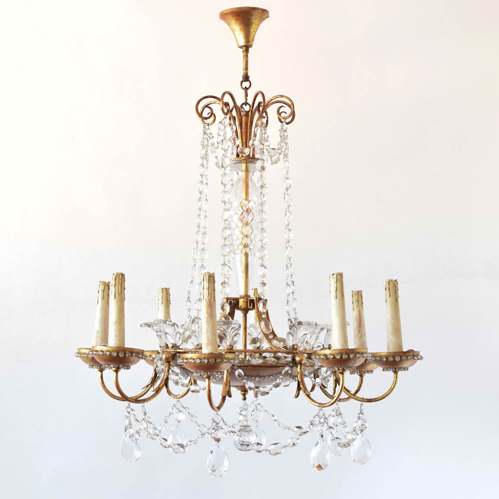 Gilded italian crystal chandelier the big chandelier gilded crystal chandelier from italy with gold bobeches arubaitofo Image collections