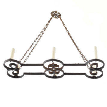 Elongated Iron Chandelier from France