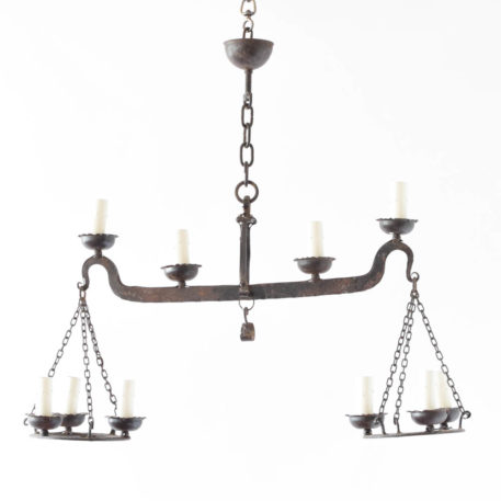 Elongated iron Chandelier from Europe