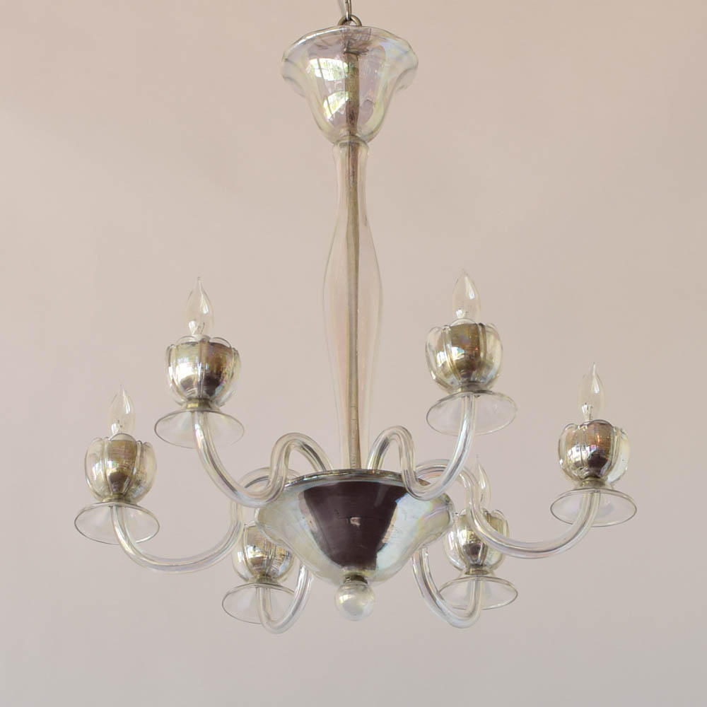 Iridescent italian chandelier wflower bobeches the big chandelier iridescent glass chandelier with flower bobeches from italy aloadofball Choice Image