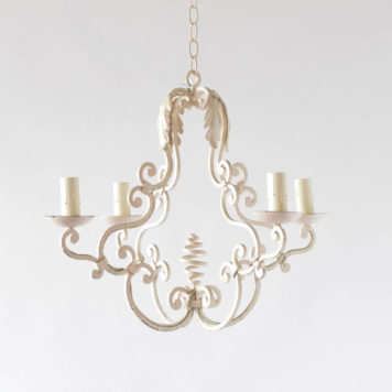 White Patina Iron Chandelier from France
