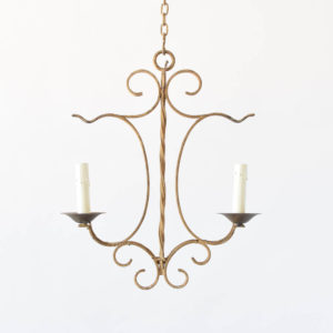 Small iron chandelier from France with simple country design