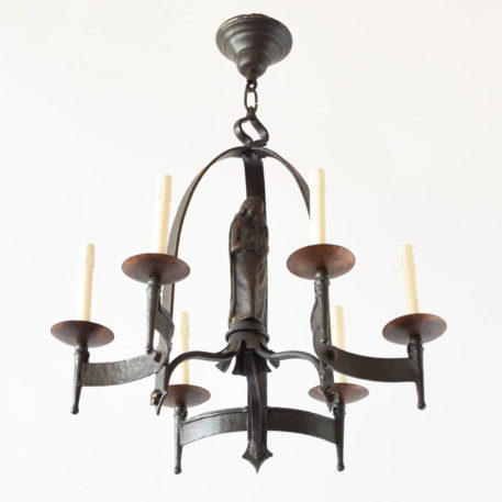Iron Chandelier with a Maria statue from Europe