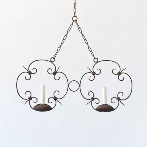 Double pendant form chandelier made in iron