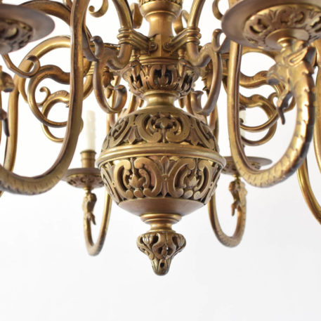 Antique Flemish Style gas chandelier from Belgium