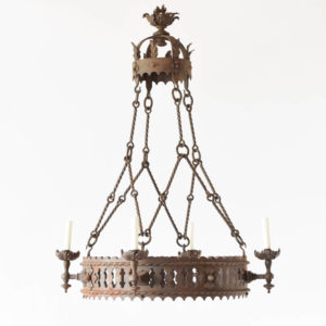 Neo Gothic Iron Chandelier from France