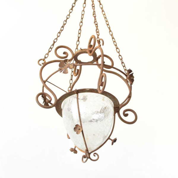 Iron Pendant Light with glass bowl from Europe
