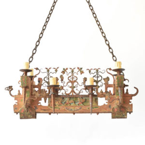 Red Carved wood chandelier from Belgium