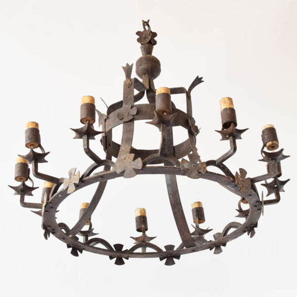Heavy Iron Chandelier from France with crosses
