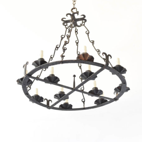 Iron Chandelier from Spain with lights situated on concentric circles