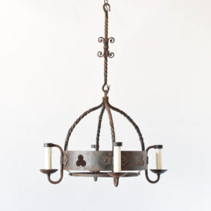 Heavy Iron Dome from Chandelier with thick twisted rods from Belgium
