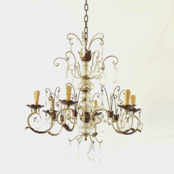 Vintage Iron Chandelier with Glass Column and Crystal Prisms