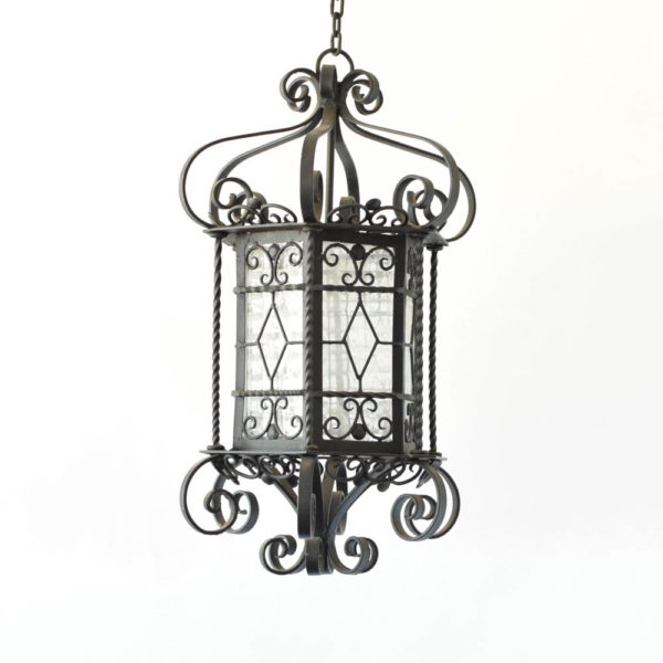 Vintage Iron Lantern from Spain with 6 sides and scrolled iron work