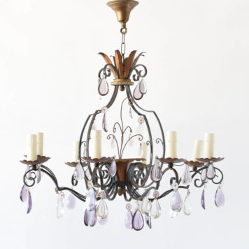Country French Iron Chandelier with Vintage Colored Crystals