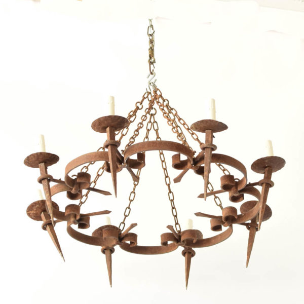 Rustic French Chandelier made with forged iron