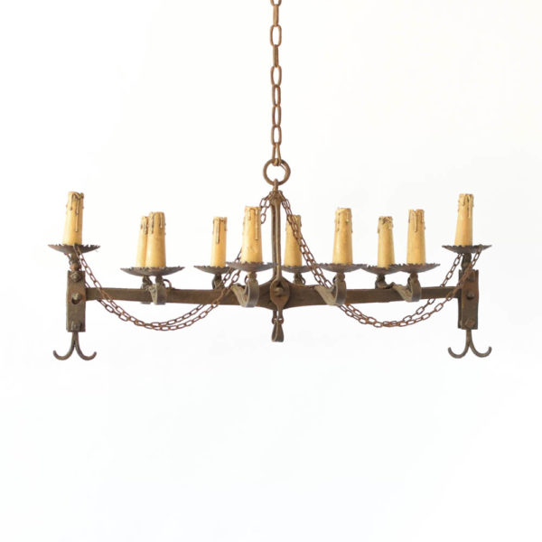Rustic chandelier made from an antique balance