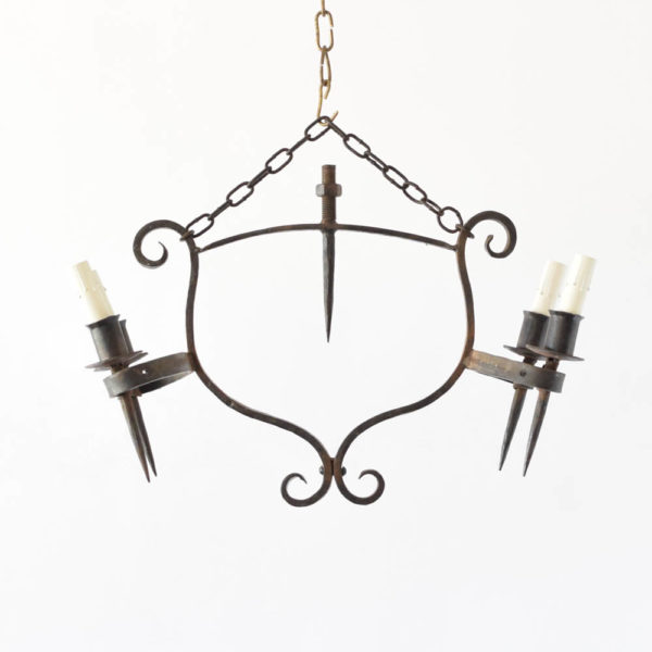 Pair of Rustic French Iron Chandeliers