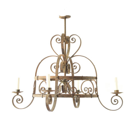 Large Iron Chandelier from Belgium with central down light