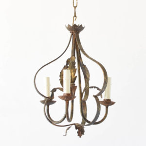 Vintage Spanish Chandelier with Gold Finish