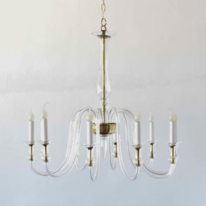 Vintage Czech Glass chandelier with scrolling arms