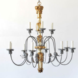 Vintage Italian Genoa Style chandelier with wood column and iron arms