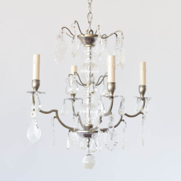 Antique French Chandelier with Nickel Finish and Crystal pendants