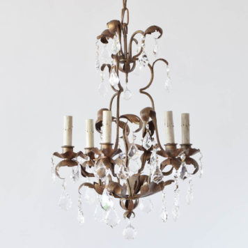 Vintage Iron Chandelier decorated with 30% lead crystal