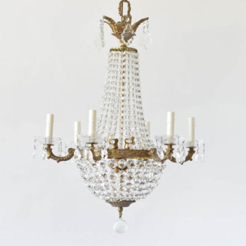 Vintage BRonze Chandelier in the form of a Sac a Pearle