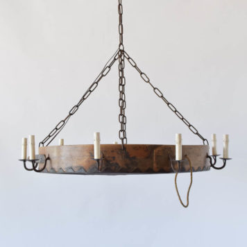 Rustic country chandelier made from an antique french sifter with custom iron arms