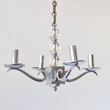 Art Deco French Chandelier with central column made of glass balls