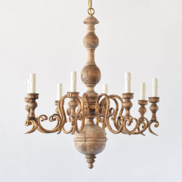 Vintage Italian Chandelier with Rustic Wood body and Gilded Iron Arms