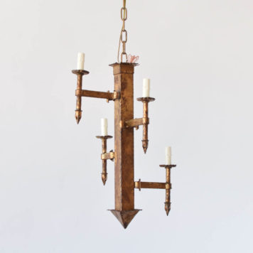 Vintage Spanish Chandelier with gilded finish and stair step light design