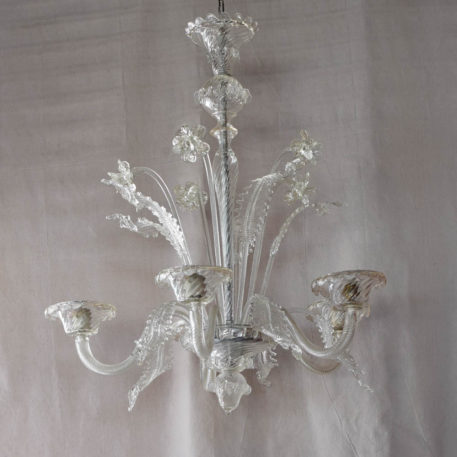 Large Vintage Murano Chandelier with Clear Glass arms leaves and flowers
