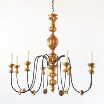 Genoa style wood/iron chandelier made with vintage italian chandelier and lamp parts