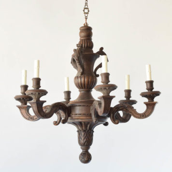 Vintage Wood Chandelier from Belgium