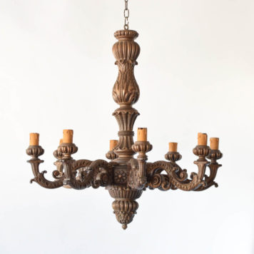 Very Large Vintage Carved Wood Chandelier from Belgium