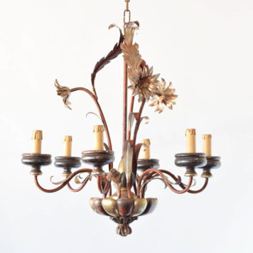 Vintage Italian chandelier with original gold/red patina