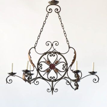 Antique French Chandelier with gold and red patina